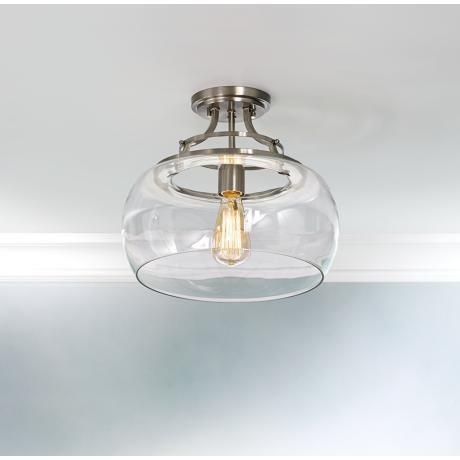 Satin Nickel Ceiling Light Fixtures: Charleston 13 1/2