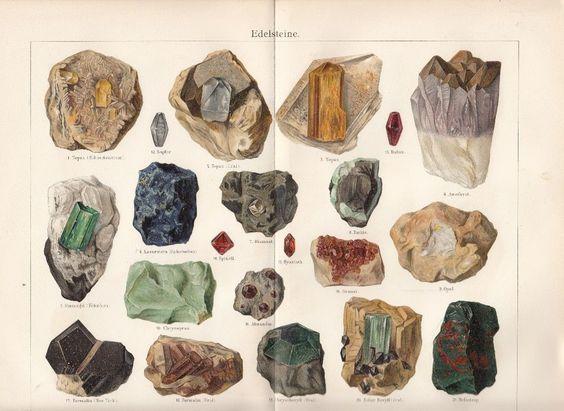 1899 EDELSTEINE Original Antiker Druck Antique Print Topas Rubin Smaragd Diamant