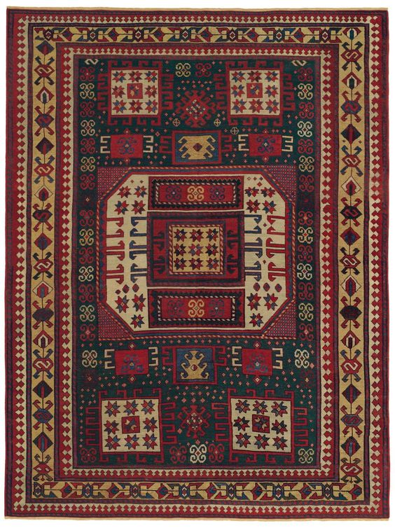 Caucasian Karachov Kazak- 6ft 0in x 7ft 10in, Circa 1850.  Its great visual potency is enhanced by the rare & captivating emerald green field, coveted by antique rug collectors. The vigorous saffron ground of the main border holds a most intriguing & asymmetrical design. Rich symbolic patterning, including sophisticated iterations of the traditional latch-hook, double ram's horns, & stars of wisdom motifs, reinforce the tribal identity of this memorable Antique Persian tribal carpet.
