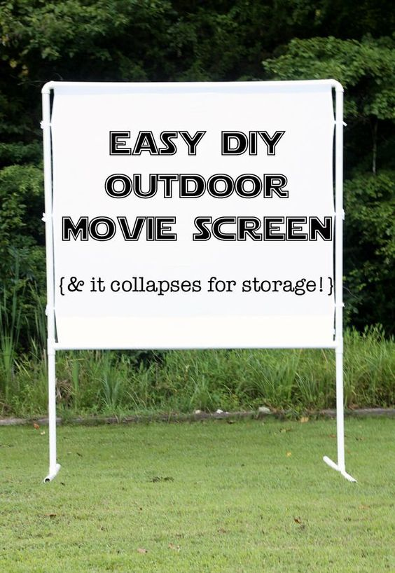 fun and easy DIY outdoor movie screen - packs up neatly for storage and goes together in minutes.