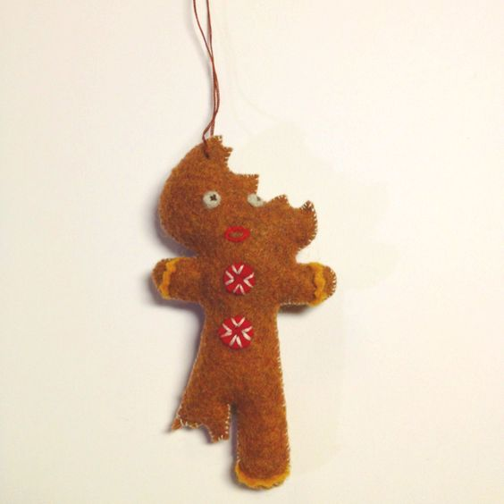 Gingerbread man Christmas ornament hand sewn with