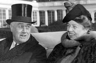 Franklin and Eleanor Roosevelt on Inauguration Day, 1941