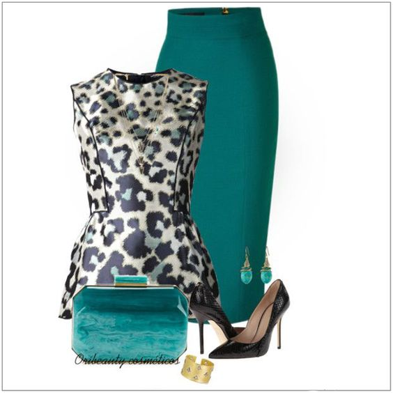 CHATA'S DAILY TIP: A fabulous update to your staple black pencil skirt and animal print top! Include splashes of gorgeous jade, perfect for all skin tones : ) Repeat the jade in your accessories – a luxury leather tote for daytime, and a classic clutch for the evening will take this outfit to the office and beyond. COPY CREDIT: Chata Romano Image Consultant, Marlise du Plessis http://chataromano.com/consultant/marlise-duplessis/ IMAGE CREDIT: Pinterest