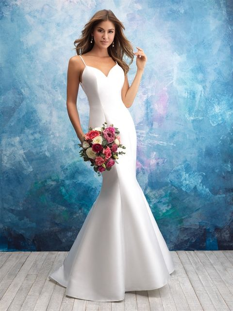 Spaghetti Strap Sweetheart Neck Satin Fit And Flare Wedding Dress