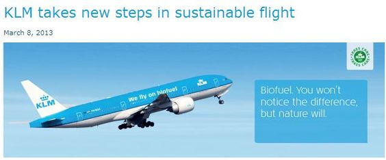 MichaelW Travels...: KLM Starts Weekly Flights Using Sustainable Biofuel