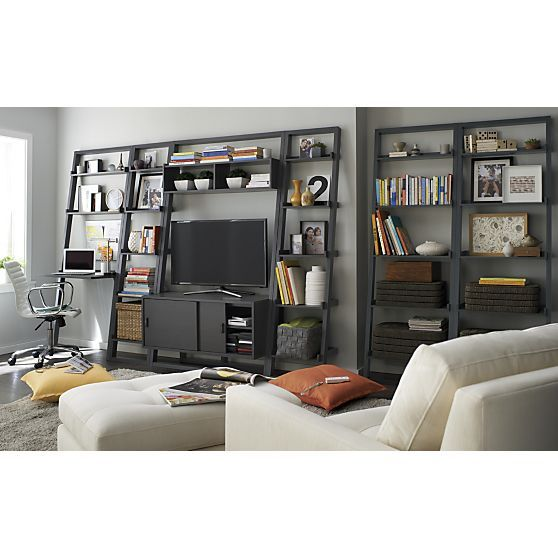 Sloane grey 25 bookcase i crate and barrel home offices for Media center with bookshelves
