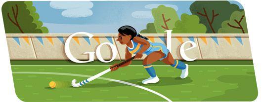 """She shoots, she scores!""  Todays google.com logo is a black field hockey player.  I win."