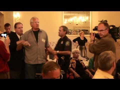 The shame of it all... Dramatic video:  71-year-old taken to the ground for questioning Paul Ryan