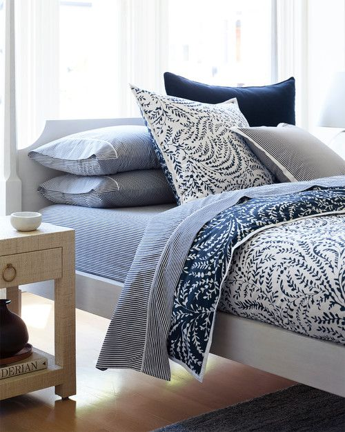 A Beautiful Bedroom How To Choose Bedding Town Country Living Coastal Bedrooms Blue And White Bedding Bed Linens Luxury