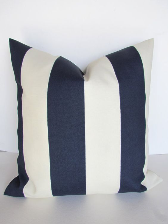Navy And White Striped Throw Pillow : BLUE STRIPED PILLOWS Navy Blue Throw Pillow Covers Indoor Outdoor 16 18x18 20 Dark Blue Striped ...