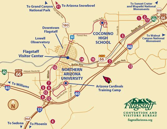 This map shows you where the Arizona Cardinals practice during this time of year! It's a really great way to spend some extra time in Flagstaff!