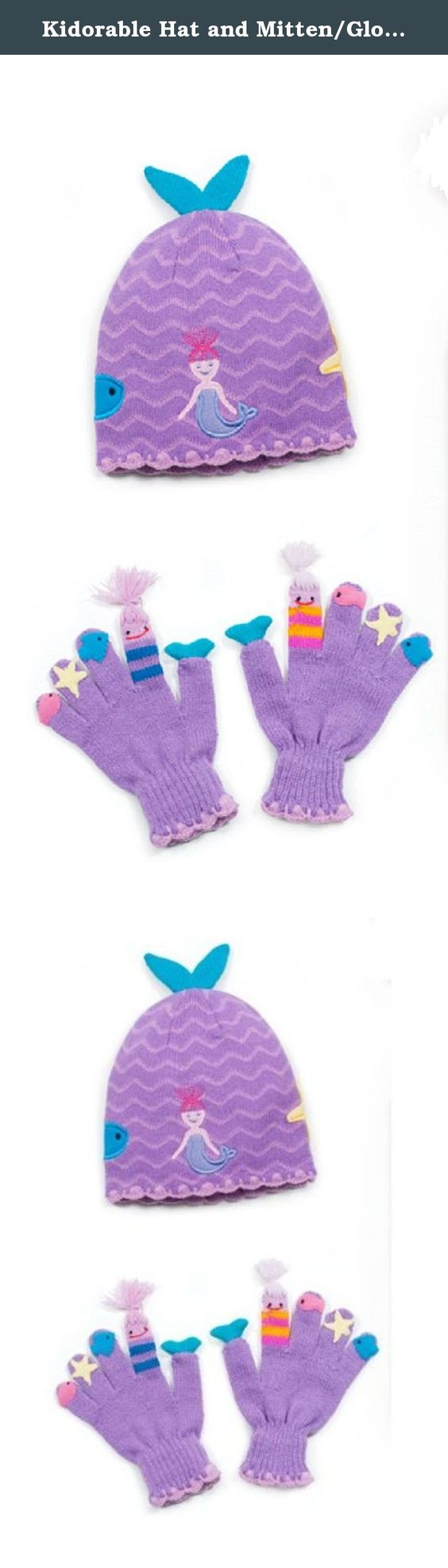Kidorable Hat and Mitten/Glove Set (Small Mitten/Glove, Mermaid). Nothing brightens up the cold months better than Kidorable knitwear. Children ask to wear it all season long. Our comfortable, acrylic knitwear products are available individually or as a set. Hats and scarves are one size fits most. All gloves and mittens styles are available in small (ages three to five), medium (ages six to eight) and large (ages nine and up).
