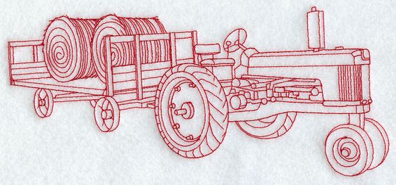 Embroidery Of Tractors : Tractor and hay wagon redwork coloring pages