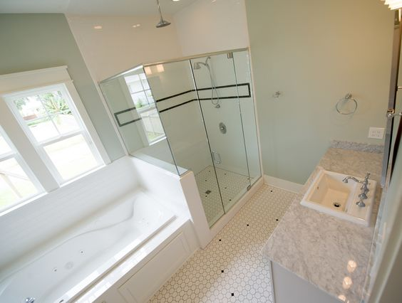 Master bathroom suite with subway tile shower jacuzzi tub for Master bathroom countertops