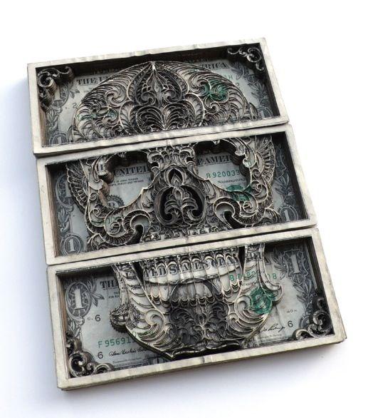 Laser Engraved Skull in Dollar bills
