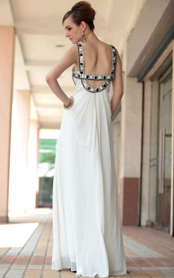 White Long Beads Pleated Bandeau Cocktail and Party Banquest Evening Dress Formal Dress,<3!