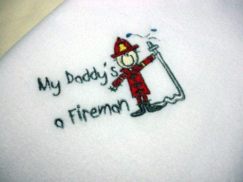 Baby Fleece Blanket Daddys a Fireman White by arizonathreads