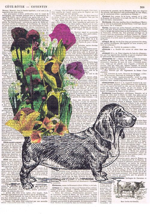 Beagle.Dog.Canine.flowers.whimsical.antique by studioflowerpower, $8.50