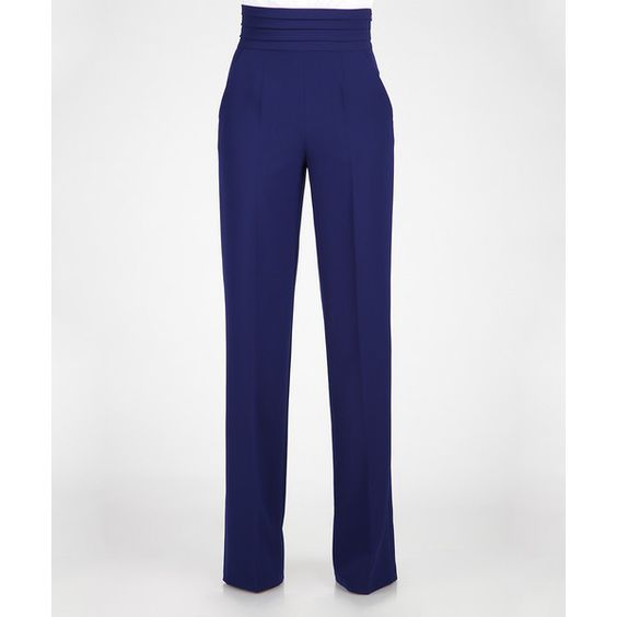 Blue pants, Trousers and High waist on Pinterest