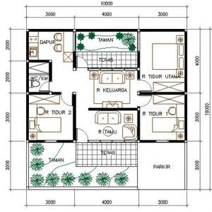 Wow ! Ini Dia Denah Rumah Minimalis Type 45 3 Kamar Terbaru