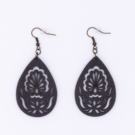 Black Coffee Wood Peacock Filigree Earrings by MoonRoseDesign