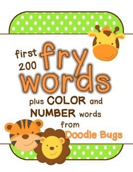 These flash cards include the first 200 Fry Words, 10 Basic Color Words and Number Words zero - twenty. 3.00