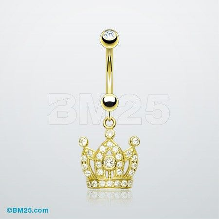 14K Gold Royal Crown Belly Button Ring