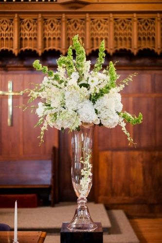 Tall centerpiece with hydrangea football mum orchid and
