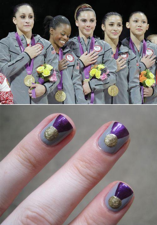 Olympic Gold Nail Art