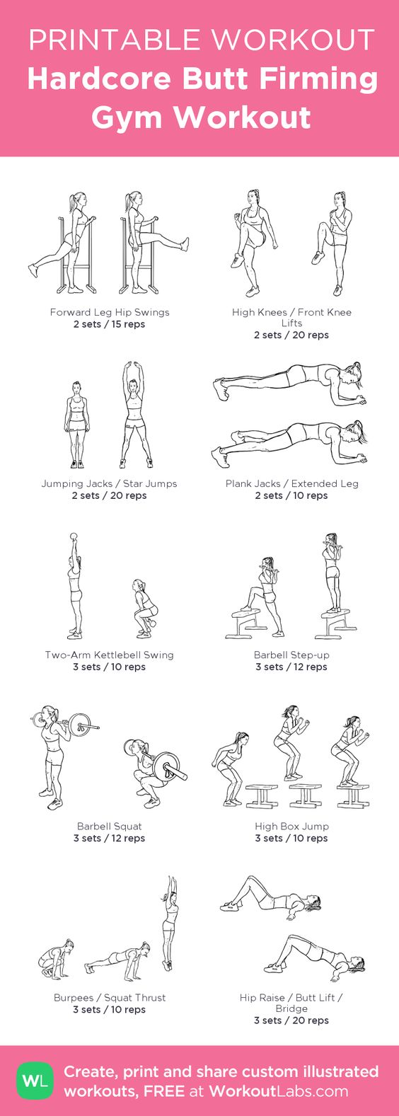 Hardcore Butt Firming Gym Illustrated Workout for Women • Click to customize and download a FREE PDF! #customworkout