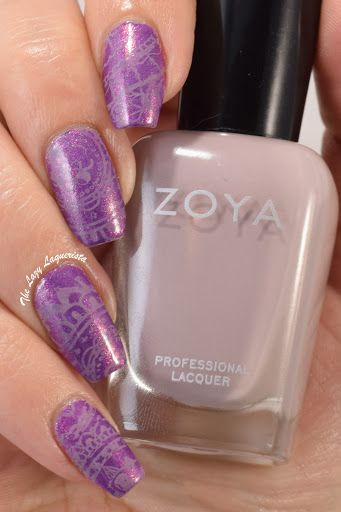 Purple Doodle Stamped Nail Art - Zoya Dannii, Moyou London doodles collection plate 03 and Zoya Eatsyn.