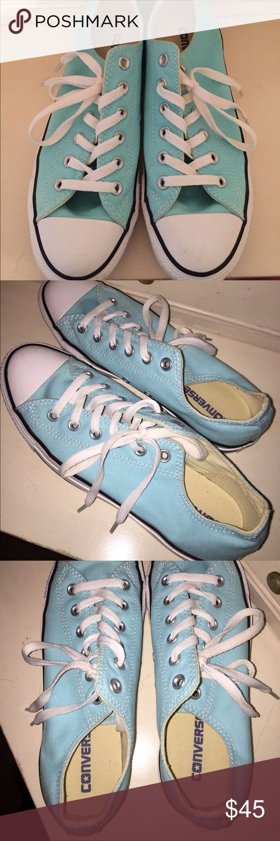 Baby Blue Converse Tiffany Blue Low Top Converse. Size 9. NEVER BEEN WORN. NO SCUFF MARKS OR DIRT. ALL PARTS OF THE SHOE ARE PERFECTLY INTACT. HAVE NOT LEFT THE BOX. Converse Shoes Sneakers