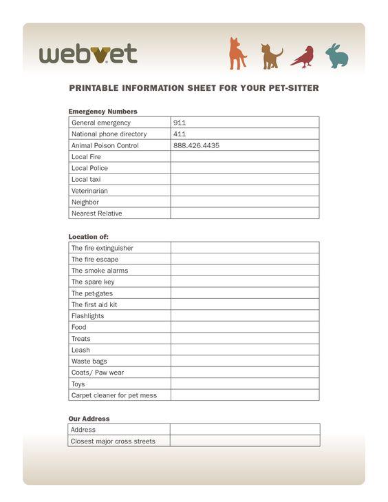 printable information sheet for your pet sitter emergency numbers dog stuff pinterest pets. Black Bedroom Furniture Sets. Home Design Ideas
