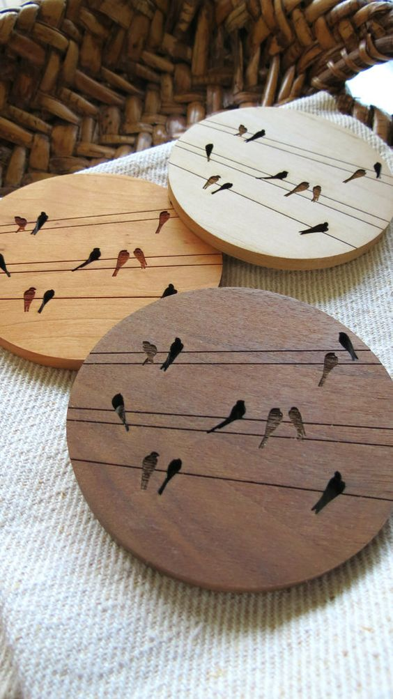 Wood Coasters Set Of 4 Engraved Wood Coasters Birds