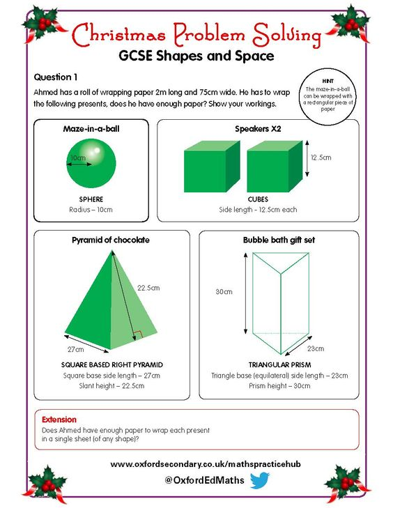 Try this Christmas worksheet on shapes and space with your GCSE – Maths Gcse Worksheets