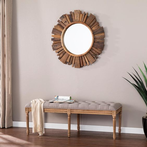 Southern Enterprises Claredale Natural Finish Reclaimed Wood Sunburst Wall Mirror Reclaimed Wood Frames Brown Decor Wood