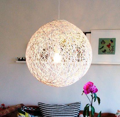 motaný lustr, lustr z provázků, jak vyrobit lust, světlo návod, drátěný lust, jak vyrobit, návod světlo