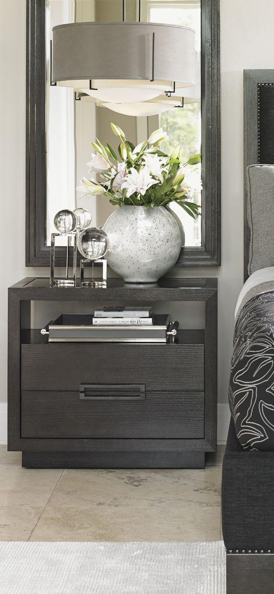 Grey nightstand bedroom decor ideas luxury furniture for Bedroom mirror inspiration
