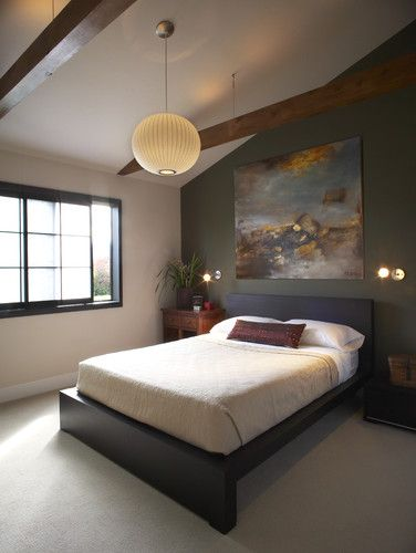 Love the one dark wall!  Wouldn't it look awesome with tan curtains up to the ceiling behind the bed?