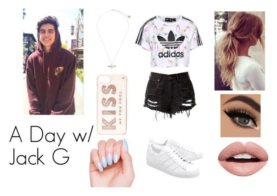 """""""A Day w/ Jack G"""" by xxlillymariexx ❤ liked on Polyvore featuring adidas Originals, Nevermind, Alex Monroe, Kate Spade, magcon and jackg"""