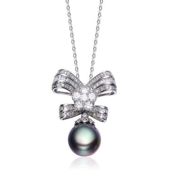 Collette Z Sterling Silver Cubic Zirconia Pearl Pendant