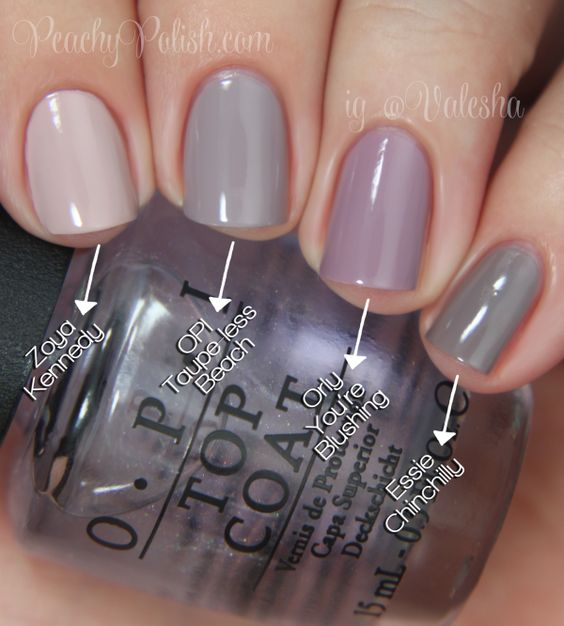 """OPI Brazil Collection Comparisons -- Pointer to pinkie; 2 coats of each: Zoya """"Kennedy"""", OPI """"Taupe-less Beach"""", Orly """"You're Blushing"""" & Essie """"Chinchilly"""". """"Kennedy"""" is obviously lighter and more warm toned. """"You're Blushing"""" is close but a touch lighter and more purple. """"Chinchilly"""" is close too but still more gray toned. No dupes!"""