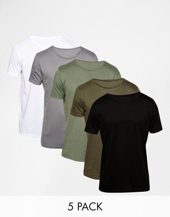 T-Shirt im Set von ASOS weiches Jersey Rundhalsausschnitt reguläre Passform - entspricht den Größenangaben Maschinenwäsche 94% Baumwolle, 6% Elastan Unser Model trägt Größe M und ist 185,5 cm/6 Fuß, 1 Zoll groß Fünferset
