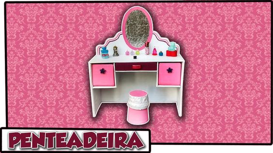 Como fazer: Penteadeira para bonecas Barbie, Baby Alive, Monster High, E...