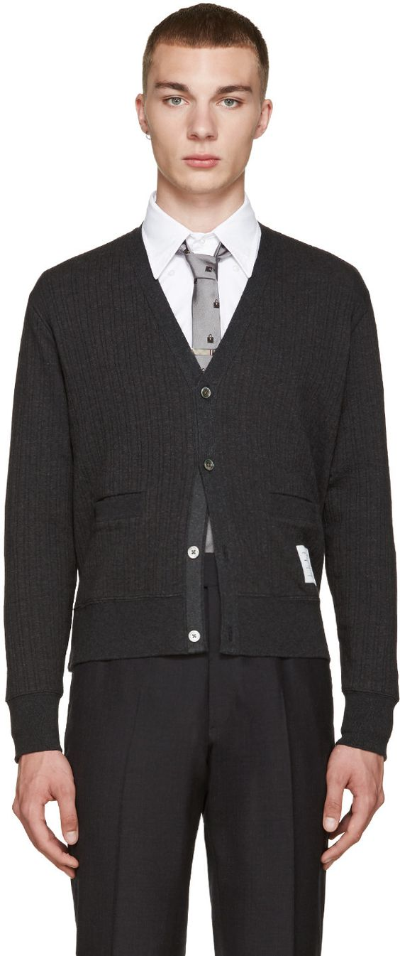 Thom Browne - Grey Ribbed Cardigan