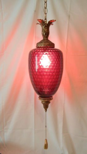 Vintage Mid Century Modern True Red Glass Swag Lamp Retro