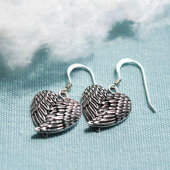 Martha Jackson Sterling Silver Silver Love Wings Earrings ($29) ❤ liked on Polyvore featuring jewelry, earrings, sterling silver heart earrings, silver angel wing earrings, silver heart earrings, wing earrings y heart earrings