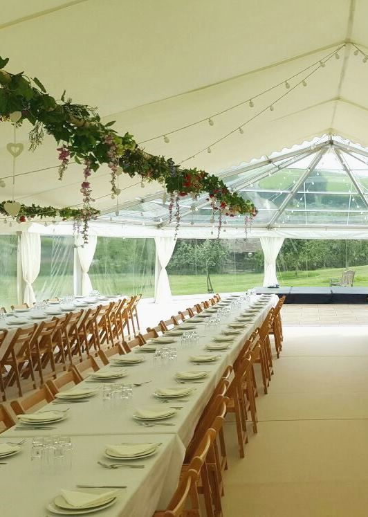 Best 25 marquee hire ideas on pinterest caravans camping gold love the hanging greenery flowers and decorations over the dining tables and the clear roof junglespirit Image collections