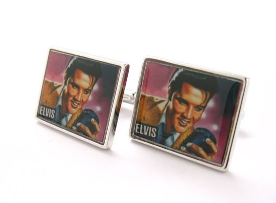 The King Elvis Presley  Cufflinks Music Rock by PerfectCufflinks, $38.88- for my dad to wear at the wedding