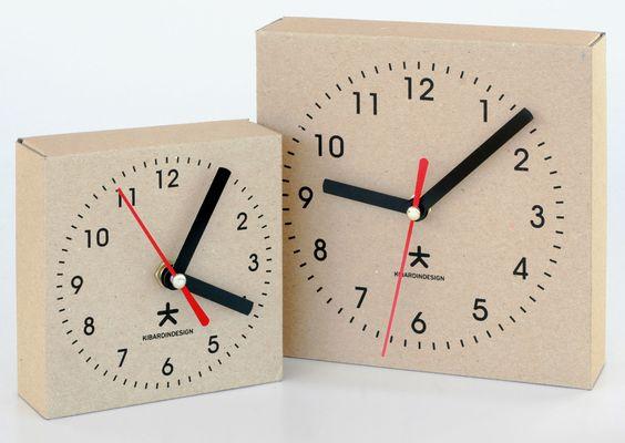 'clock box' desk / wall clocks from kibardindesign are made of corrugated fiberboard boxes with quartz movement